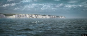 The white cliffs of dover, viewed from at sea in The English Channel, during force 8 gale force wind.